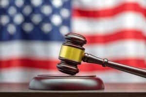 gavel in front of an american flag